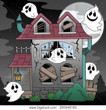 Derelict House And Ghosts Theme 2 - Eps10 Vector Picture Illustration.
