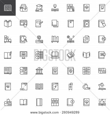Books And Education Outline Icons Set. Linear Style Symbols Collection, Line Signs Pack. Vector Grap