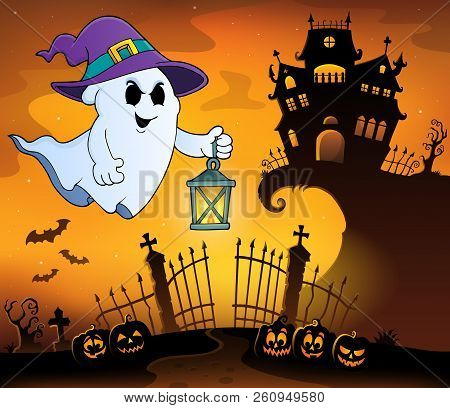 Ghost With Hat And Lantern Topic 1 - Eps10 Vector Picture Illustration.