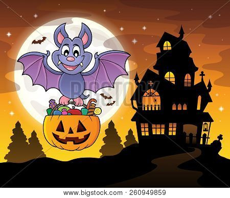 Halloween Bat Theme Image 4 - Eps10 Vector Picture Illustration.