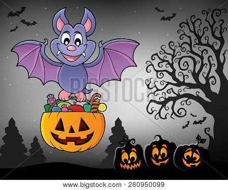Halloween Bat Theme Image 7 - Eps10 Vector Picture Illustration.