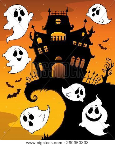 Halloween House Silhouette And Ghosts 1 - Eps10 Vector Picture Illustration.