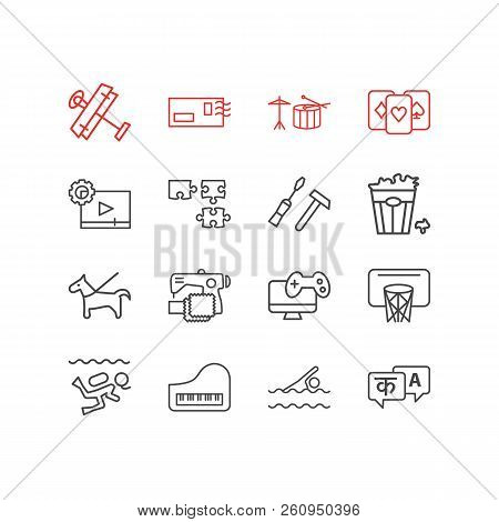 Vector Illustration Of 16 Hobby Icons Line Style. Editable Set Of Drums, Postcrossing, Basketball An