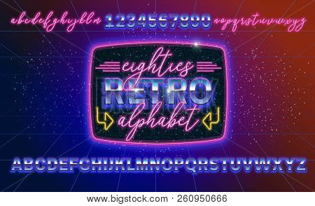 80s, Retro Alphabet Font Banner Or Cover. Old Style Vector Poster. Disco Fluorescent Neon Style For