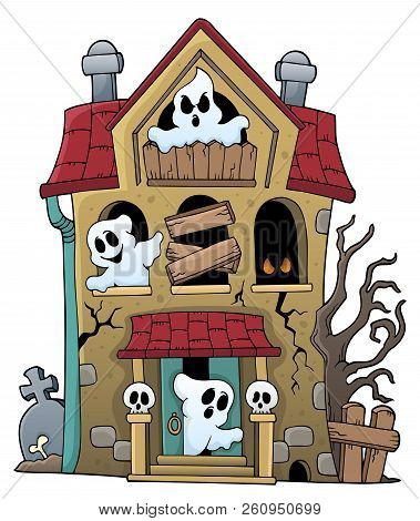 Haunted House With Ghosts Theme 1 - Eps10 Vector Picture Illustration.