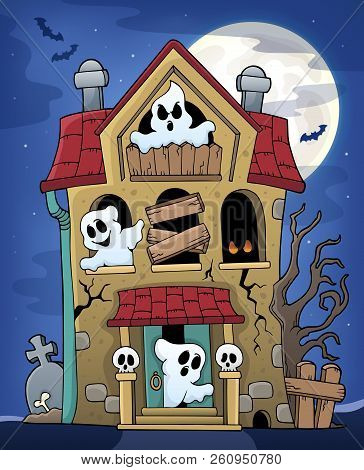 Haunted House With Ghosts Theme 2 - Eps10 Vector Picture Illustration.