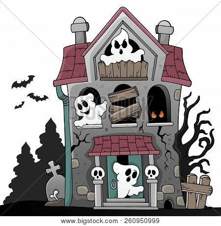 Haunted House With Ghosts Theme 5 - Eps10 Vector Picture Illustration.