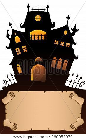 Small Parchment And Haunted Mansion 4 - Eps10 Vector Picture Illustration.
