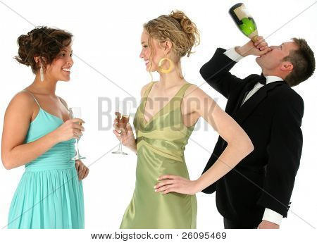 Two beautiful young woman talking while man in background chugs a bottle of champagne. Shot in studio over white.