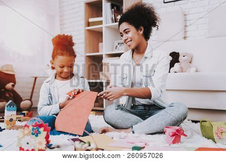 Relaxation With Mother. Smile And Young Time Together. Love Time Together. Babysitter And Young Girl