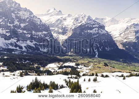 Peaks Of Mountain Alps Looking From Grindelwald First Peak Electric Cable Car , Switzerland Europe