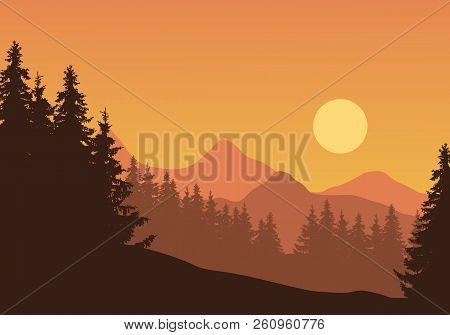Realistic Illustration Of Mountain Landscape With Coniferous Forest And Trees, Under Orange Sky With