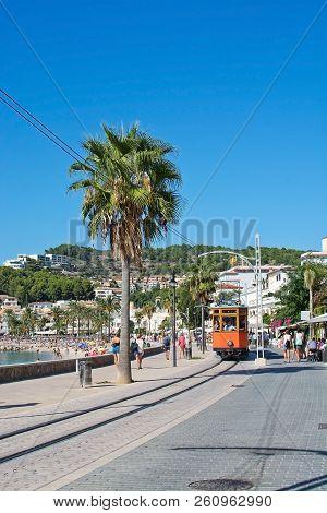 Soller, Mallorca, Spain - September 28, 2018: The Old Soller Tram On Track Along The Sea Promenade O