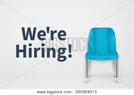 We Are Hiring Concept. Vacant Office Chair. Empty Seat Business Recruiting Vector Background. Empty