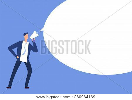 Businessman With Megaphone. Man With Loudspeaker And Blank Speech Bubble. Announcement Vector Concep