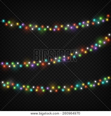 Color Light Garlands. Christmas Lights Holiday Decoration With Colourful Light Bulb. Realistic Light