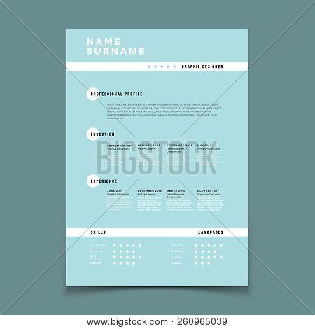 Cv Resume. Employment Application Form With Job Description Vector Template. Mockup Curriculum Vitae