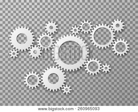 Gears Background. Cogwheels Gearing Isolated On Transparent Background. Machine Components Industria