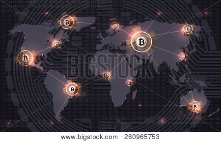 Global Bitcoin. Crypto Currency Blockchain Technology And World Map. Crypto Currency Trade Vector Ab