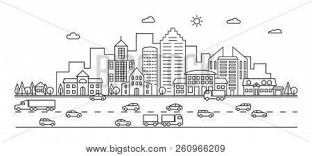 Line City. Outline Town Street With Buildings And Cars. Modern Vector Doodle Cityscape And Transport