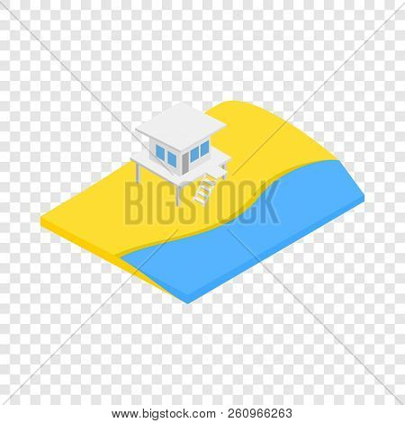 Beach With Lifeguard Tower Isometric Icon 3d On A Transparent Background Illustration