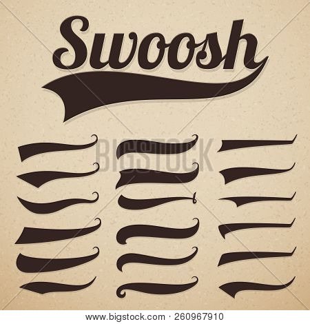 Retro Texting Tails. Swooshes Swishes, Swooshes And Swashes For Vintage Baseball Vector Typography.