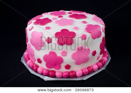 White Fondant Cake With Pink Flowers