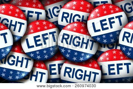 Left And Right Wing Vote Badges As A United States Election  Or American Voting Concept As A Symbol