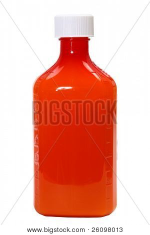 perscription liquid medicine bottle over white.