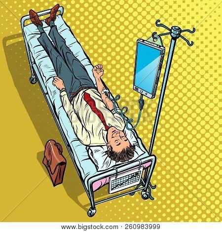 Dependency On Gadgets Concept. Man Under Medical Dropper. Pop Art Retro Vector Illustration Vintage