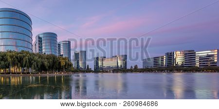 Redwood Shores, California - September 27, 2018: Oracle Headquarters And Lake With Twilight Sky Pano