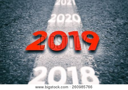 New 2019 Year Concept. 2019 New Year Road Concept.