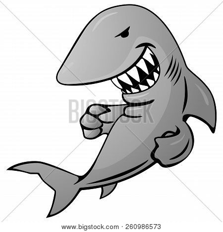 Cool Shark Cartoon Illustration With A Big Grin And Sharp Teeth