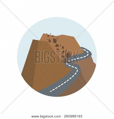 Rock Avalanche, Rockfall, Fall, Nature, Rock, Disaster, Avalanche Color Icon. Element Of Global Warm
