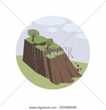 Avalanches, Environment, Landslide, Landslip, Natural Color Icon. Element Of Global Warming Illustra