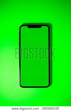 Paris, France - Sep 27, 2018: Directly Above View Of Apple Computers Iphone Xs Smartphone Telephone