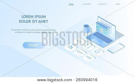 Isometric Web Banner Concept Software Development And Programming, Program Code On Laptop Screen. Pr