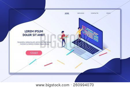 Modern Isometric Web Banner Development Process. Software Api Prototyping Testing Concept Software D