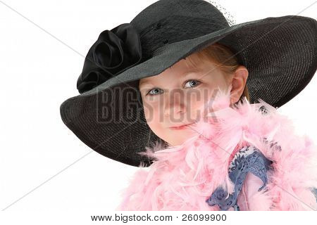 Beautiful five year old american girl in mom's dress and hat with pink feather boa over white.