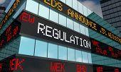 Regulation Stock Market Oversight Rules Laws Trading Ticker 3d Illustration poster