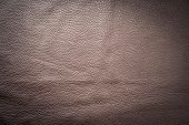 Brown genuine leather as background wallpaper with copy space  poster