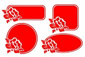 Four red stylized frames with roses on a white background. poster