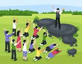 Isometric religious cult composition with outdoor landscape and group of people prostrating themselves before their leader vector illustration poster