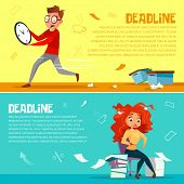 Office managers deadline banners. Cartoon flat office manager man running in hurry clock or woman looking at watch with hair and work documents mess for deadline business concept poster