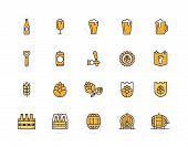 Set of beer and bar, pub colored line icons. Alcohol, bottle, mug, barley, hop, barrel, ale, froth, keg, beaker, jar and more. Editable Stroke. poster