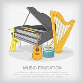 Musical ensemble concept set. Cartoon illustration of musical ensemble concept for web poster