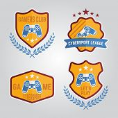 Set of video gamers club labels, cybersport emblems, isolated vector templates poster