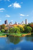 New York City Central Park in Autumn with Manhattan skyscrapers and colorful trees over lake with reflection. poster