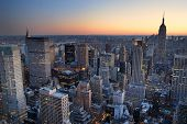 New York City Manhattan skyline panorama sunset aerial view with. empire state building poster