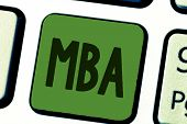 Conceptual hand writing showing Mba. Business photo text Advanced degree in business fields such as administration and marketing poster